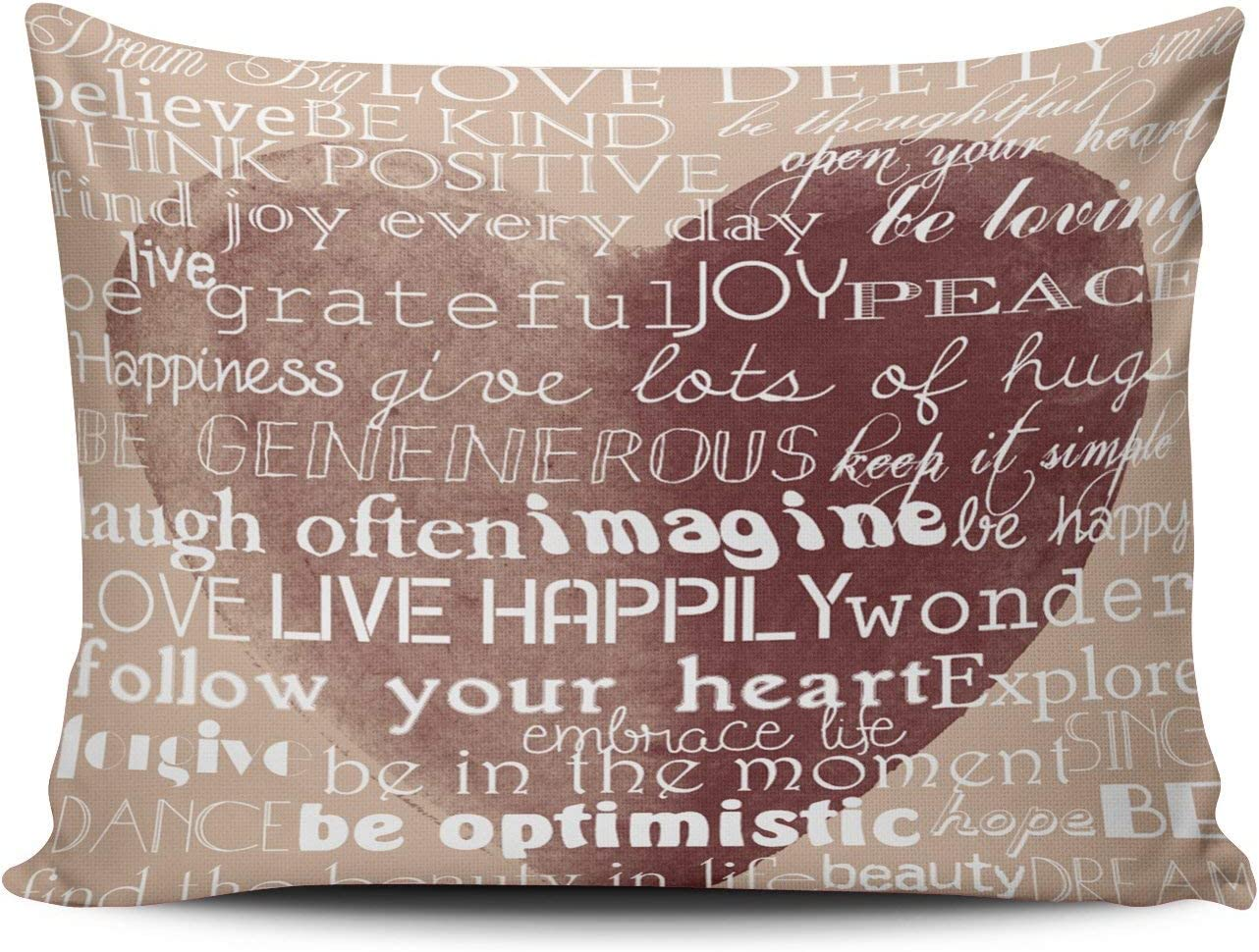 Wulihua Throw Pillow Covers Coral And Brown Inspirational Words Watercolor Heart Queen Outdoor Cushion Cover Pillowcase Size 20x30 Inch One Sided Printed Chic Fashion Design Home Kitchen