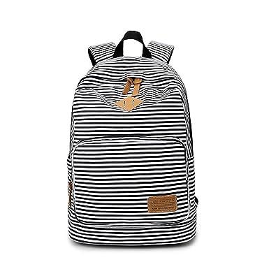 Feminine Backpack Striped Women Canvas Backpack Teenage Backpacks Teen  Girls Teenagers Bagpack Youth Female Feminina Black 5fb26cce2b64c