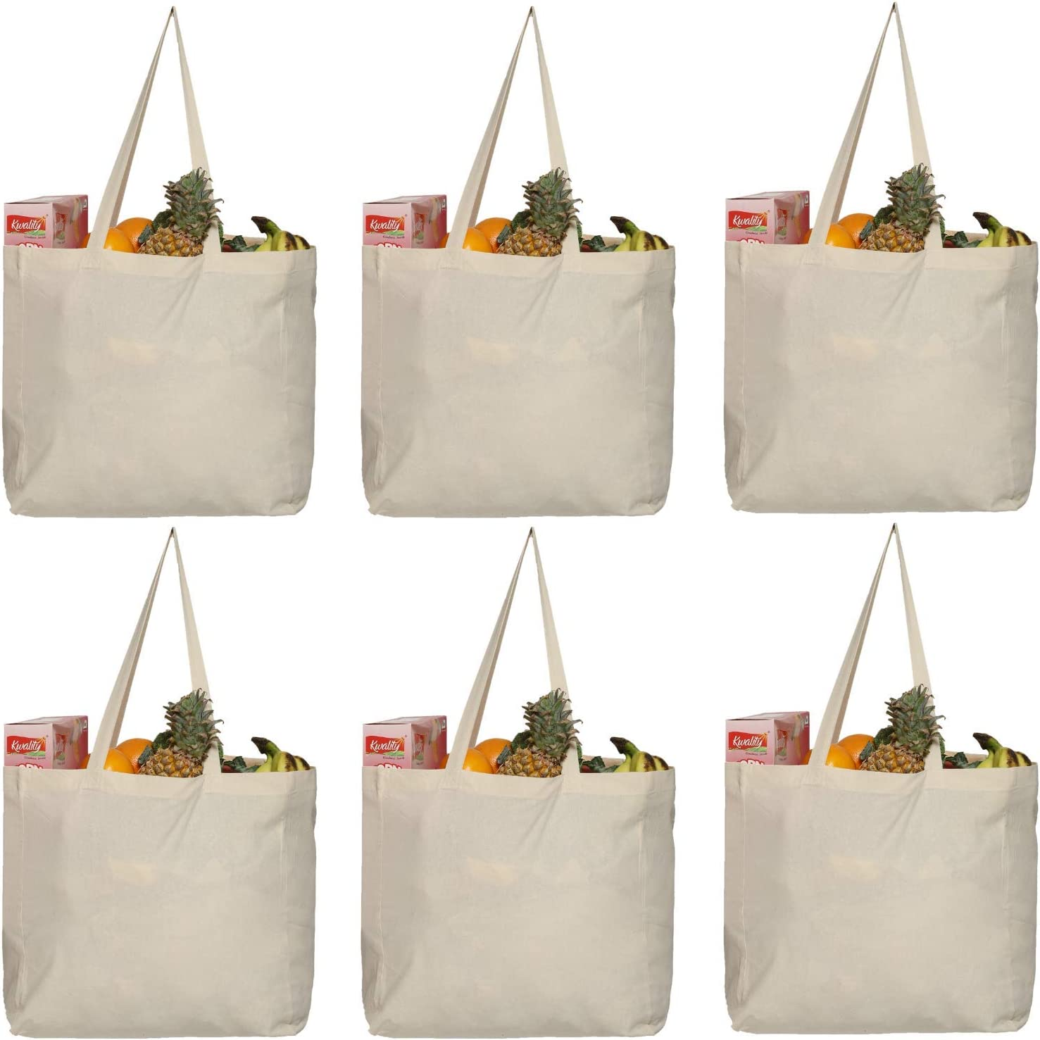 "Greenmile 6 Pack Reusable Grocery Bags with Extra Strong Handles | Holds 40 lbs | Large Eco Cotton Canvas Shopping Totes | Heavy Duty, Eco Friendly, Foldable Bulk Market Bag (14x14x7.5"") Pack of 6"
