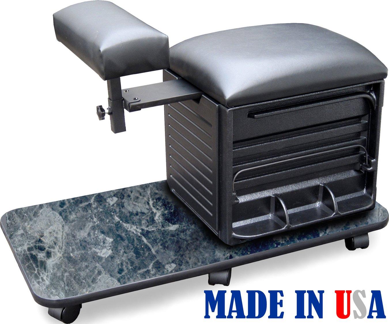 2317-HF BM Salon Spa Pedicure Nail Station Stool w/Footrest Made in USA by Dina Meri