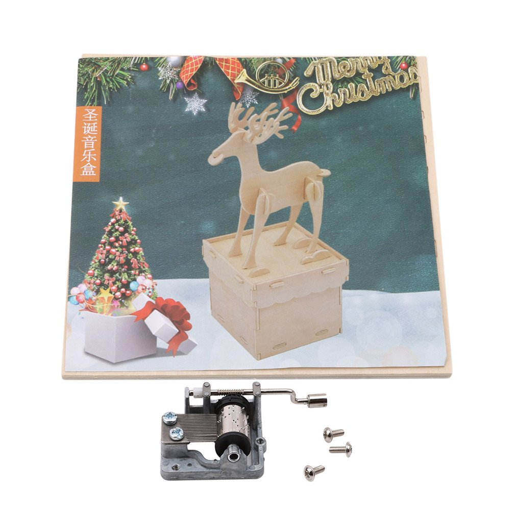 SONGLIN Rotating Music Christmas Gift Music Box Indoor Decoration for Friends A Great Gifts (Wood Color Deer)