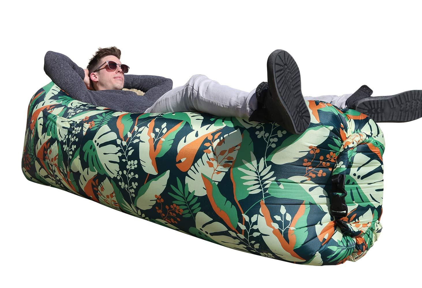 WEKAPO Inflatable Lounger Air Sofa Hammock-Portable,Water Proof& Anti-Air Leaking Design-Ideal Couch for Backyard Lakeside Beach Traveling Camping Picnics & Music Festivals (G Leaf) by WEKAPO
