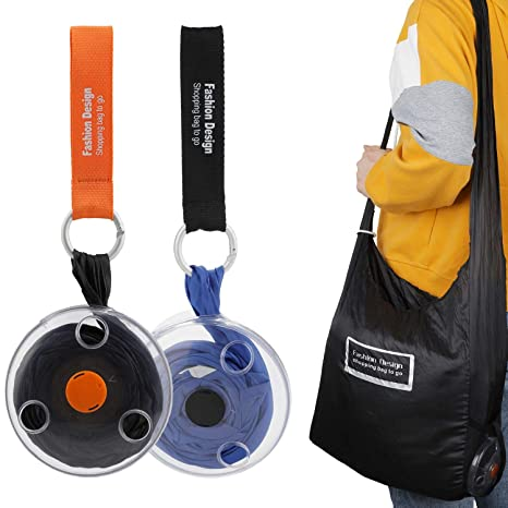 Mwoot Bolsos de la compra plegables, bolso de hombro plegable reutilizable del bolso de ultramarinos de 2 pedazos Roll-up