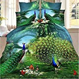 Peacock Bedding Animal Print Comforter Cotton Queen Set 3D Oil Painting Duvet Cover Set 4Pcs Queen