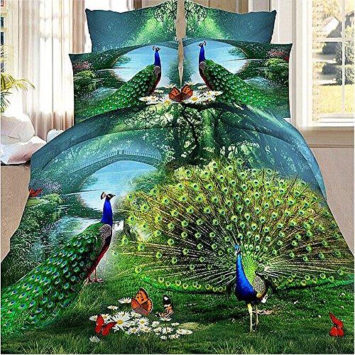 Peacock Bedding Animal Print Comforter Cotton Queen Set 3D Oil Painting Duvet Cover Set 4Pcs Queen (Peacock Bed Set)