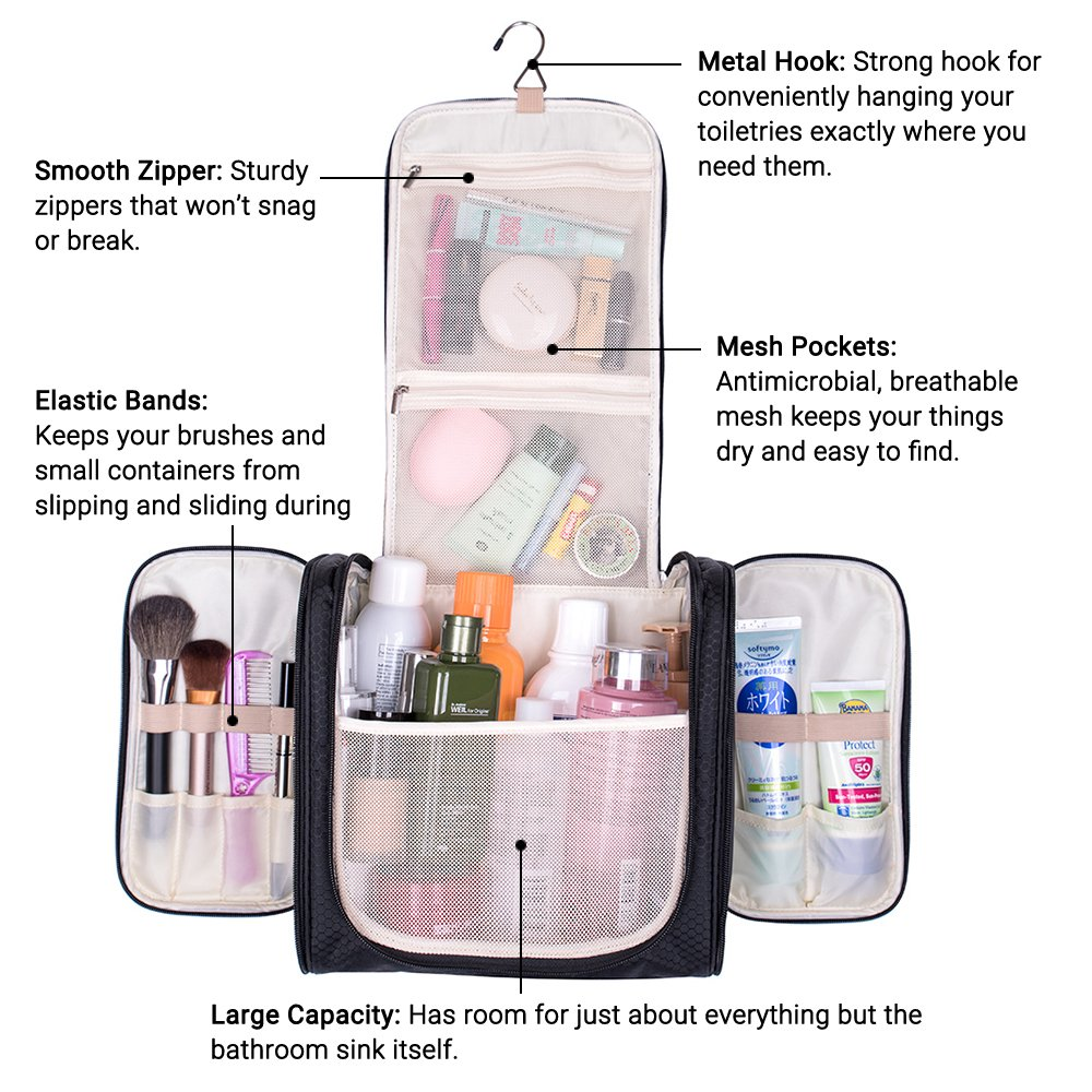 Travel Hanging Toiletry Bag, Waterproof Cosmetics Makeup Toiletry Organizer, Compact Bathroom Storage Organizer, Travel Kit Perfect For Beauty Accessories, Personal Items, Shampoo and Body Wash by MIU COLOR (Image #4)