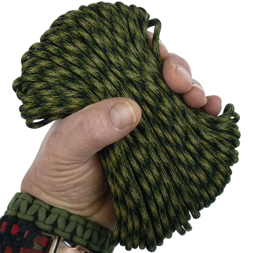 MilSpec Paracord Jungle Camo 110 ft. Hank, Military Survival Braided Parachute 550 Cord. Use with Paracord Tools for Tent Camping, Hiking, Hunting Ropes, Bracelets & Projects. Plus 2 eBooks.