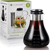 Teabloom Perfect Brew All-Brew Beverage Maker – Extra Large Glass Pitcher – Precision Tea, Cold Brew Coffee, and Fruit Infused Water System Hot + Cold Brew Tea Maker 1.5 L Clear