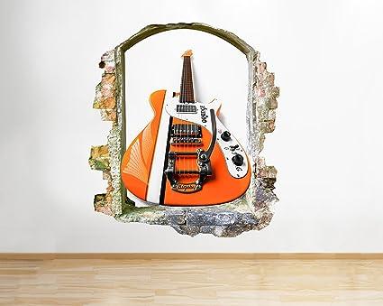 tekkdesigns Guitarra eléctrica Instrumento de música Ventana Adhesivo Pared 3D Arte Pegatinas Vinilo habitación
