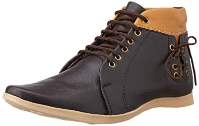 7bced978d8 Benten Men's Brown Leather High Top Shoes - 10 UK: Buy Online at Low ...