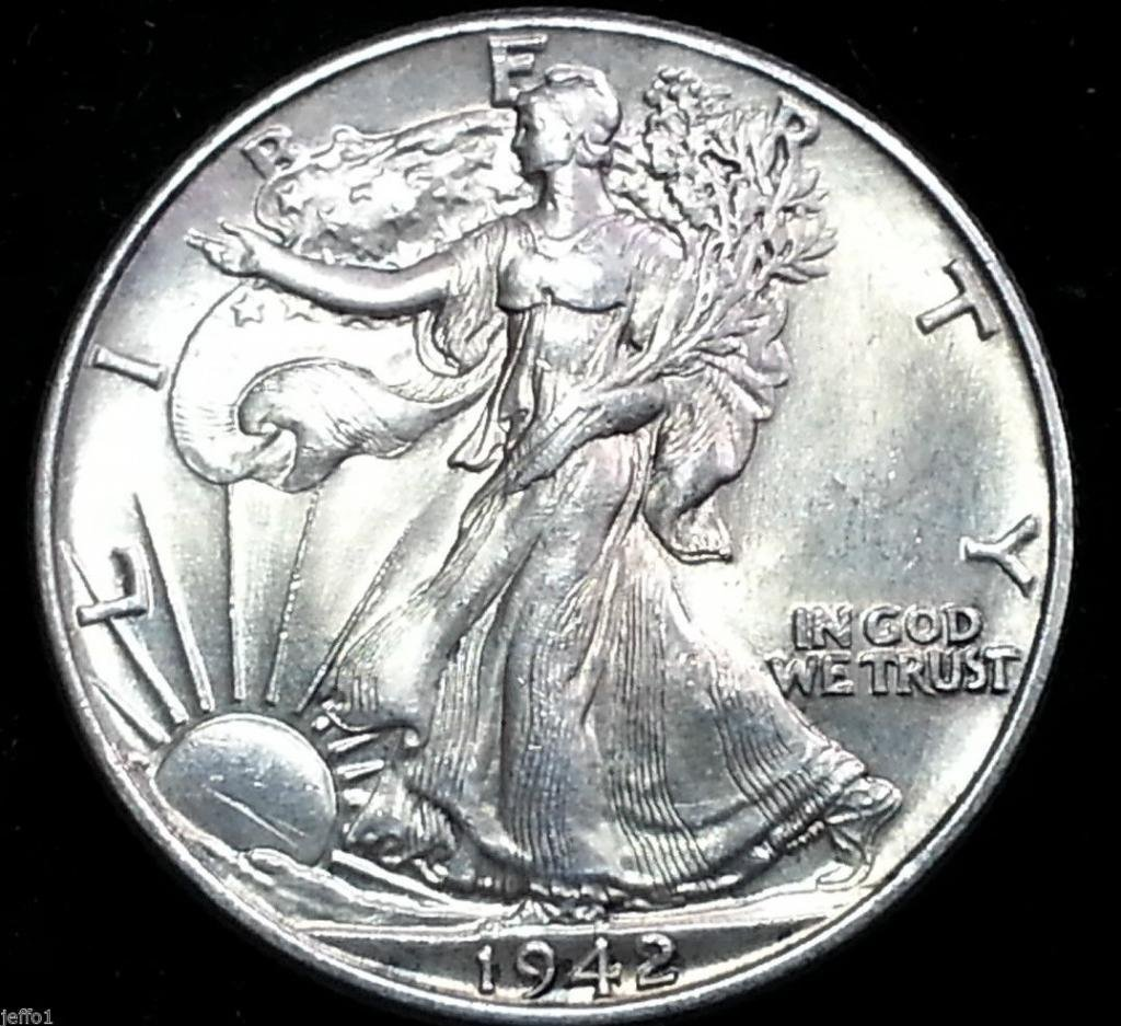 1942 Walking Liberty Half Dollar 90% Silver US Coin MS/BU Fifty Cents .50 Half Dollar Choice Brilliant Uncirculated