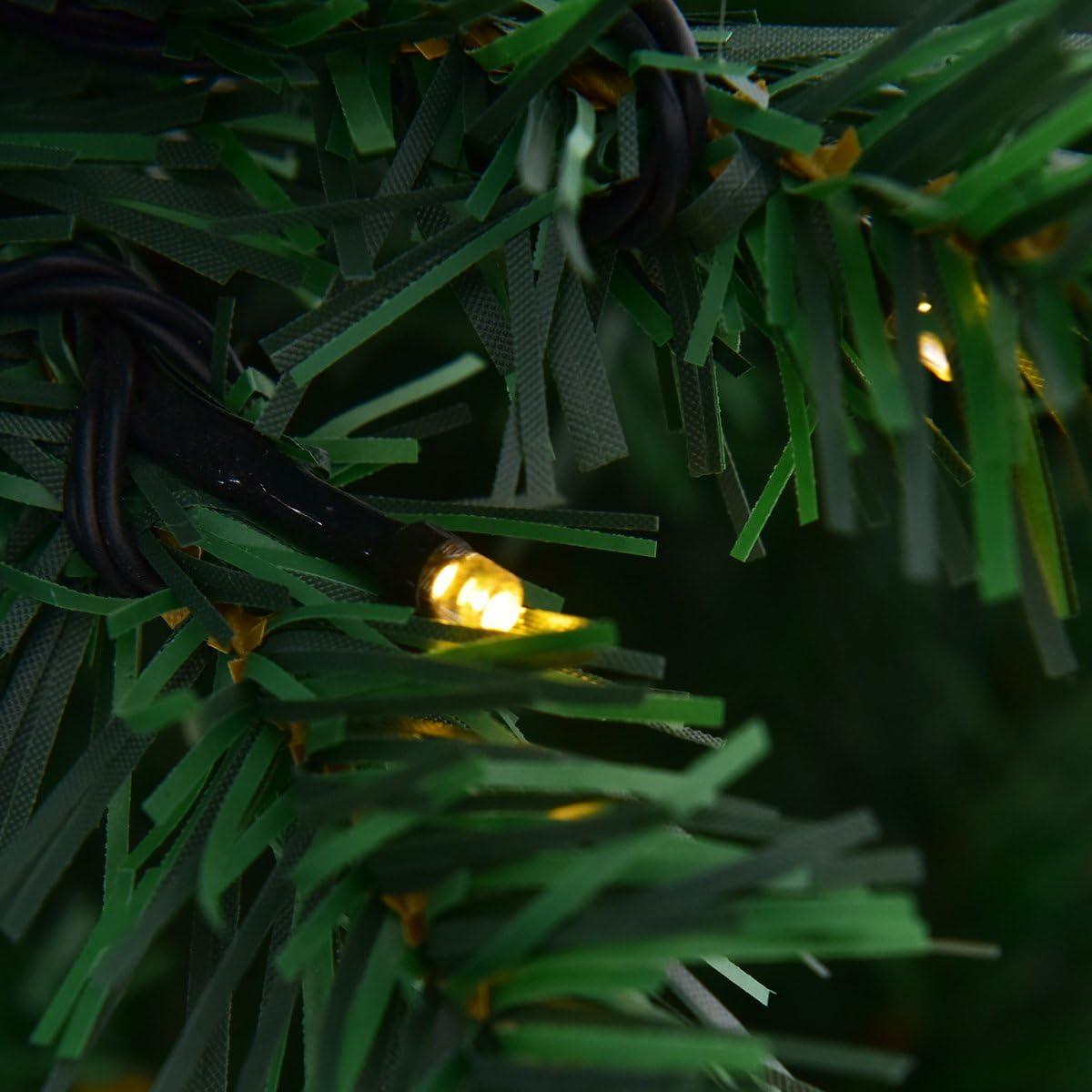 225cm D/écoration pour Maison No/ël Vert Pieds en Fer et Feuilles en PVC 300//400//430 Lampes /à LED avec Lumi/ère Blanche Chaude DREAMADE Sapin de No/ël Artificiel 210CM//225CM//240CM