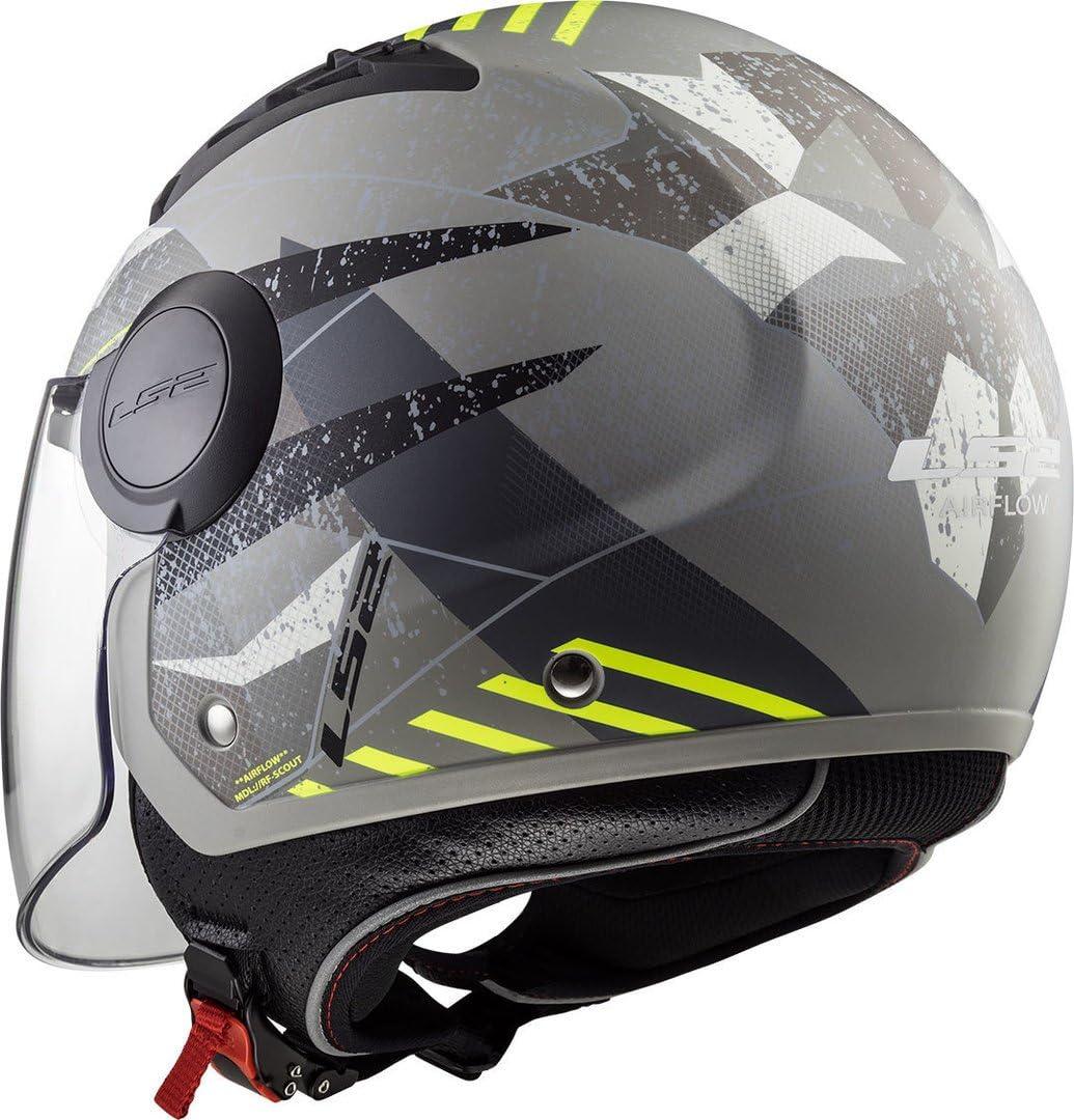 Casque moto jet Airflow Camo noir titanium jaune XS LS2