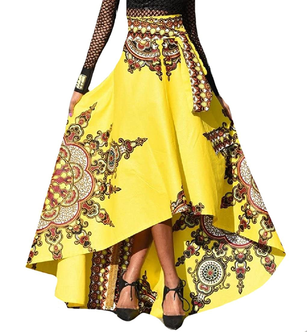 86bf088949410 Tootlessly-Women Full Circle African Print Full Length A-Line Skirt ...