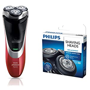 Philips Norelco AT811/84 PowerTouch Electric Rotary Shaver with SH50/52 Replacement Shaver Head and Aquatec Seal - Bundle
