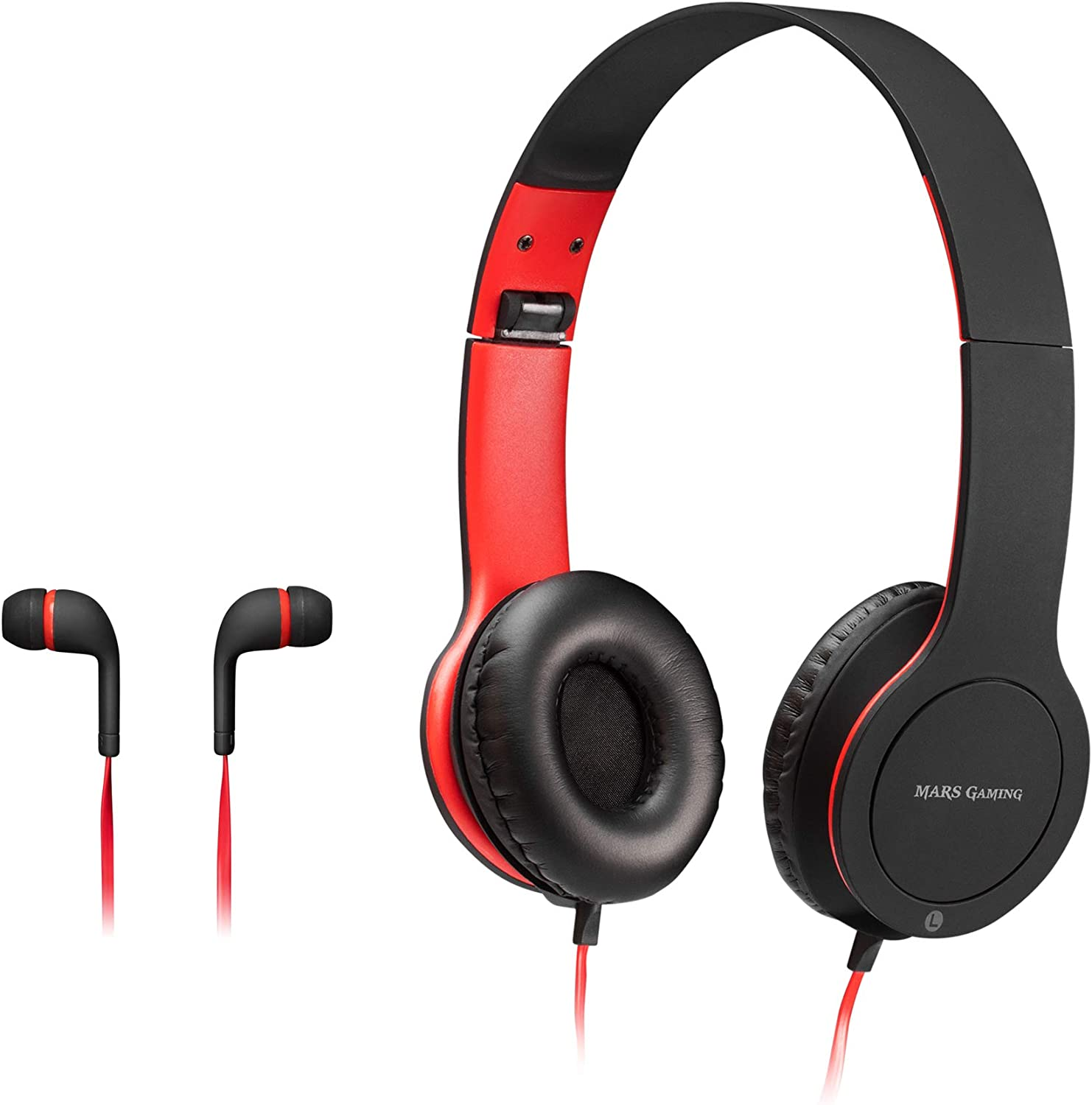 Mars Gaming MHCX, Pack Gamer, Cascos+Auriculares in-Ear, Jack 3.5, Soft Touch
