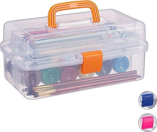 Relaxdays estuche de plástico, organizador con nueve compartimentos, asas, cierre click, naranja, 14 x 33 x 19 cm.: Amazon.es: Hogar