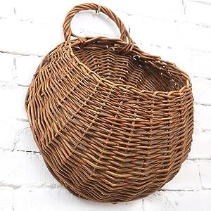 MOTINA Handmade Woven Hanging Basket Natural Wicker Hanging Storage Basket for Home Garden Wedding Wall Decoration