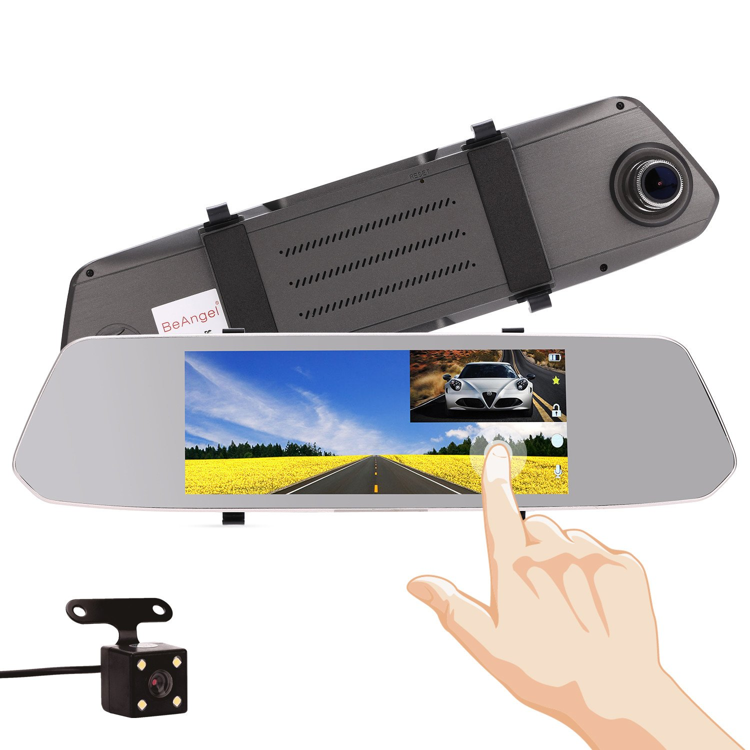 7 Inch Touch Screen Car Camera 7'' Rearview Mirror Dash DVR Cam Night Vision Front and Rear Dual Lens Video Recorder Reversing Backup Camera