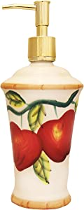 ACK Tuscany Red Apple with Bamboo Trim Hand Painted, Lotion Jar, 84388