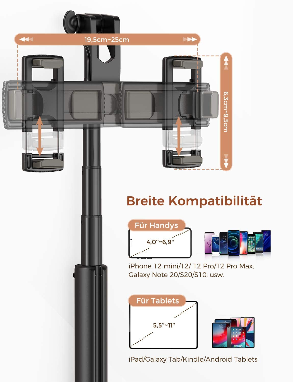 Mpow Trípode para iPad 4 en 1 con Dos Soportes para teléfono móvil, Mando a Distancia Bluetooth para iPhone 12 mini/12/12 Pro/12 Pro Max/11/11 Pro, ...
