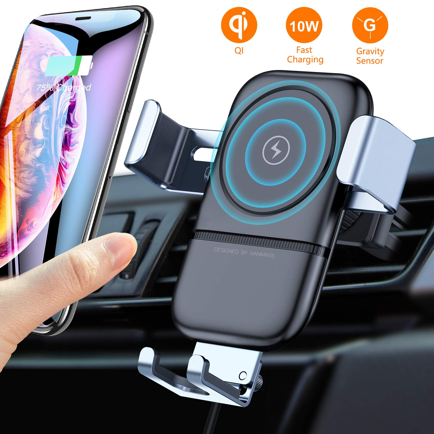 VANMASS Wireless Car Charger Mount, Automatic Clamping Gravity Sensor Car Phone Mount, 10W 7.5W Qi Fast Charging Air Vent Phone Holder Compatible with S10+ S10e S9 Note 9, Phone Xs Max XR X 8 Plus