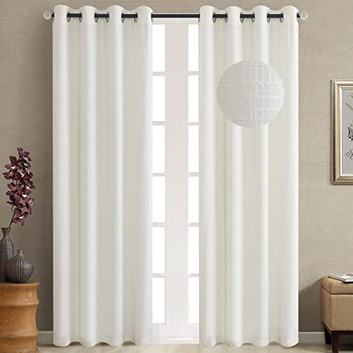 GYROHOME Jacquard Faux Linen Blackout Curtain Grommet Top Thermal Insulated Room Darkening Engery Saving Drape Noise Reducing No Formaldehyde,Sold in Pair