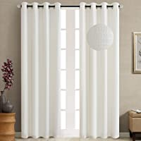 GYROHOME Curtains for Bedroom livingroom Polyester Cotton Jacquard Imitation Linen Top Eyelet Grommet Top Darkening Curtains Panels of 2