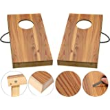 OOFIT Solid Wood Premium Cornhole Game Set with Vintage, Durable Printed Surface and Underneath, Portable Cornhole Bean Bag Toss Game (Junior, Tailgate, Regulation Size)
