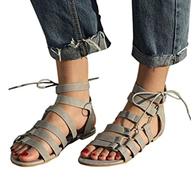 a4abe0debbf Women Bohemian Casual Sandals Gladiator Flat Peep-Toe Sandals Shoes Tie up  Ankle Strap Flat