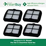 4 - Bissell Pet Hair Eraser Replacement Filters, Part # 203-7416. Designed by FilterBuy to fit Bissell Pet Hair Eraser Hand Vac.