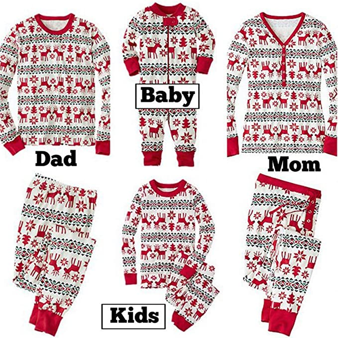 Navidad Familia Pijamas a Juego bebé recién Nacido niños mamá papá ...