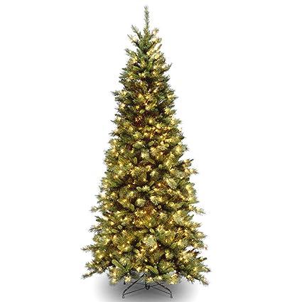 75 pre lit slim tiffany fir artificial christmas tree clear lights - Pre Lit Slim Christmas Tree