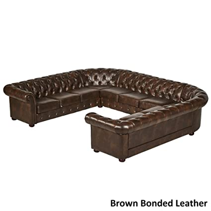 Inspire Q Knightsbridge Tufted Scroll Arm Csterfield 11-seat U-Shaped Sectional by Artisan Brown