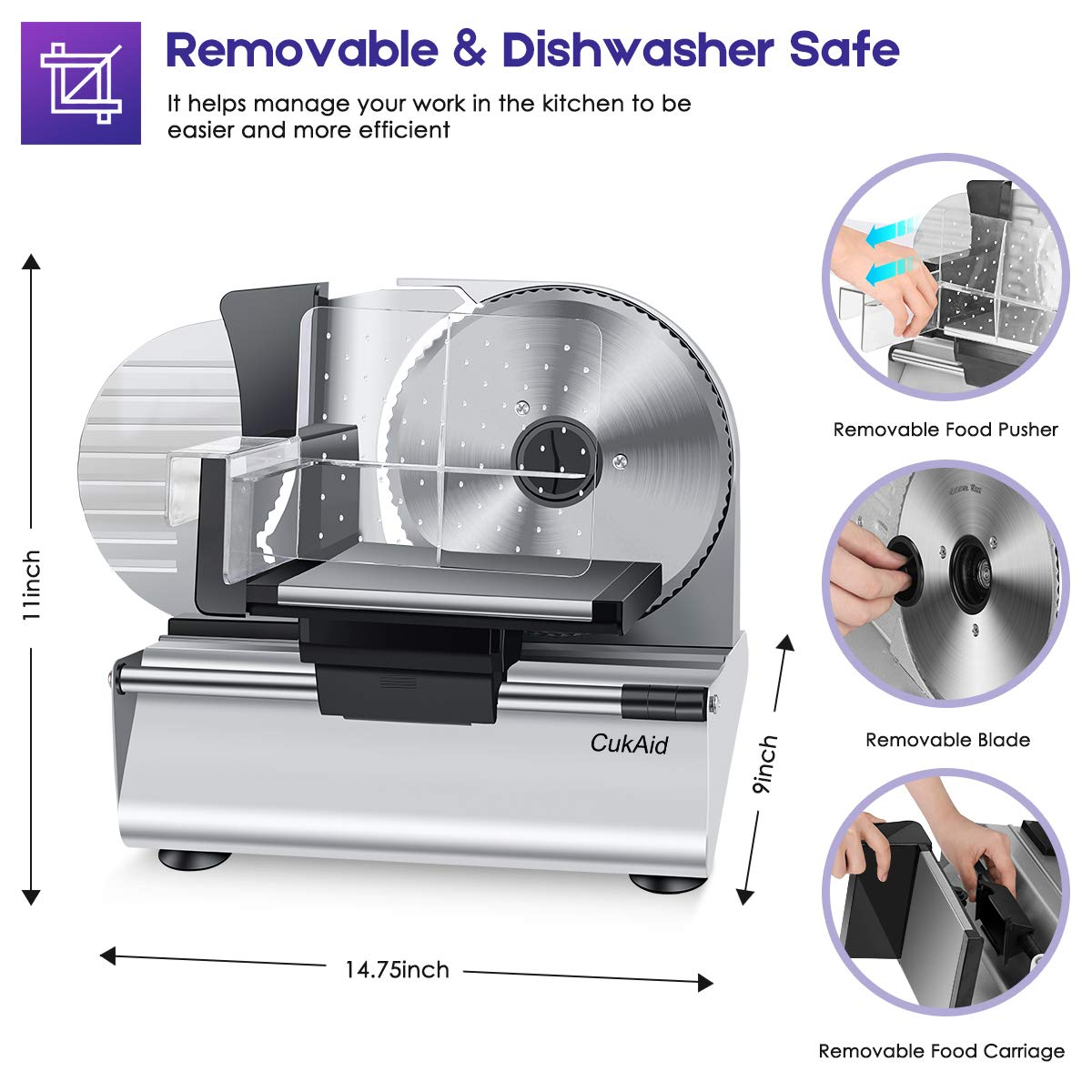 CukAid Electric Meat Slicer Machine, Deli Cheese Bread Food Slicer, Dishwasher Safe, Removable Stainless Steel Blade & Food Carriage and Pusher, 7/8 Inch Adjustable Thickness, 180W, Commercial & Home Use by CukAid (Image #2)