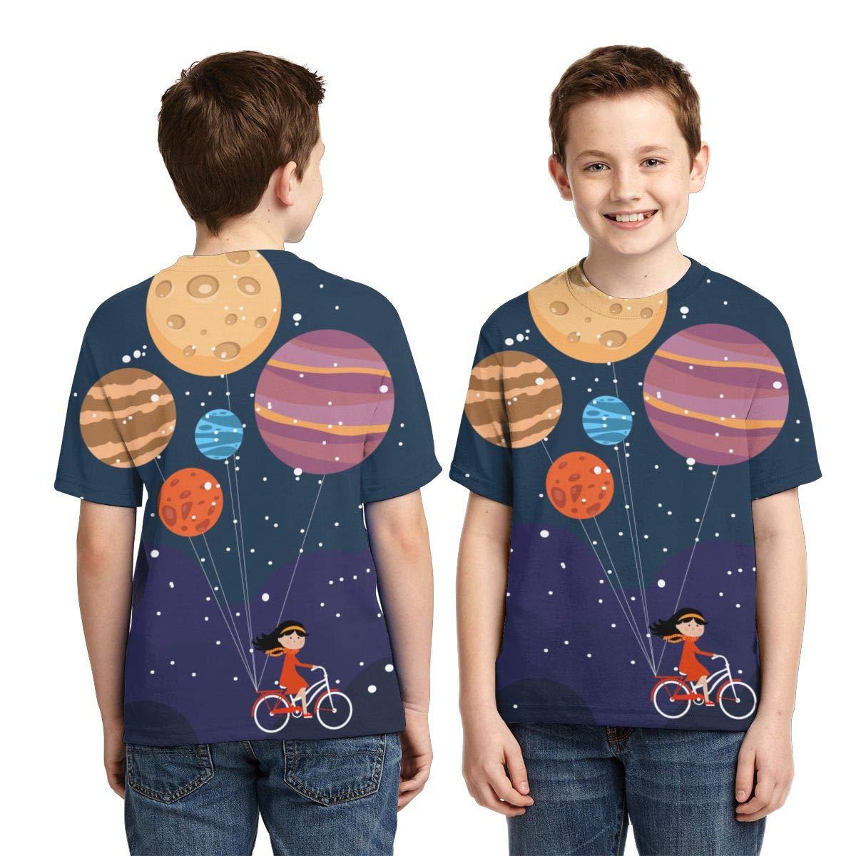 RIPO dise/ño de Planetas Camiseta de Manga Corta para ni/ños y ni/ñas