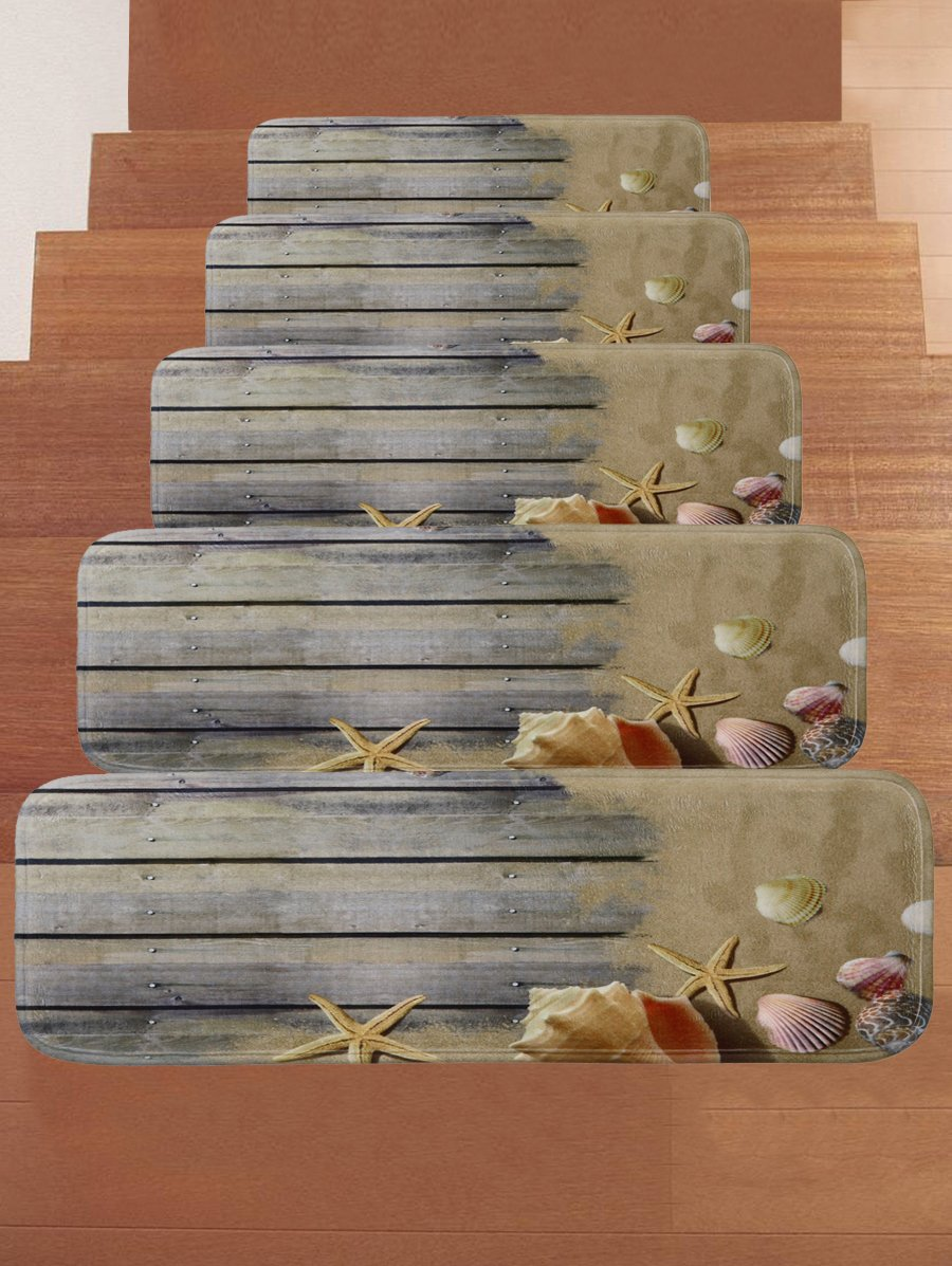 WCHUANG Gray Wood Stair Treads Non-slip Carpet, Beach Starfish Conch Print  Rectangle Stair Rugs Pads, Indoor Outdoor Rubber Mats for Staircase, Set of