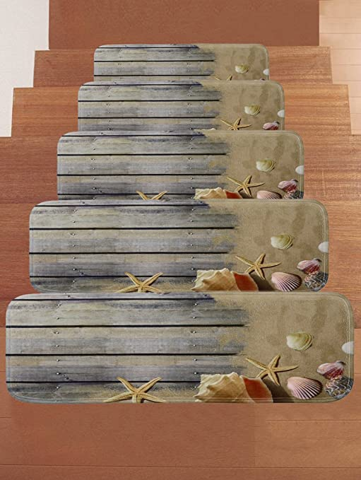 WCHUANG Gray Wood Stair Treads Non Slip Carpet, Beach Starfish Conch Print  Rectangle Stair