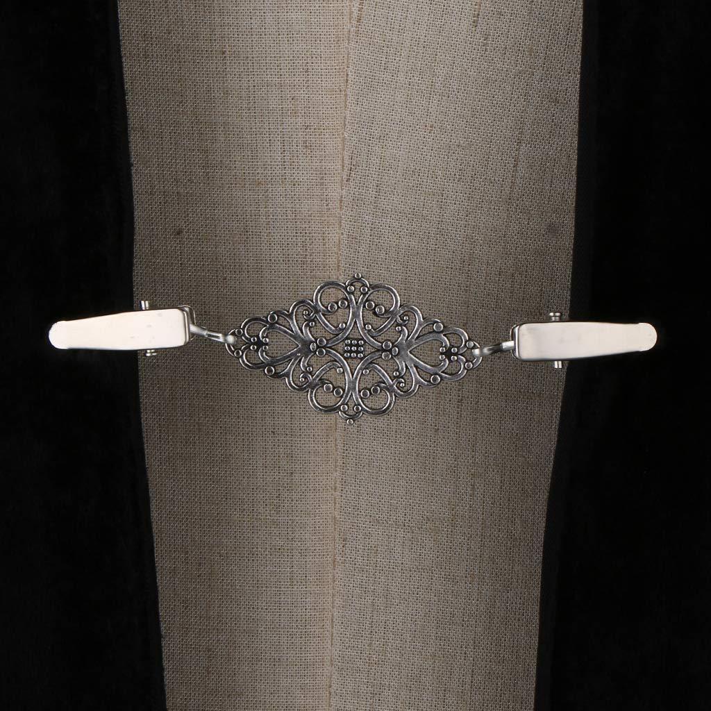 Baoblaze 2pcs Retro Cardigan Clip Sweater Clip Women Filigree Cinch for Dress Shawl Clip