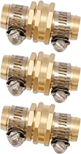 U.S. Solid Brass Garden Hose Connector with Stainless Steel Clamps, Male and Female Garden Hose Fittings, 3 Sets (5/8 inch)