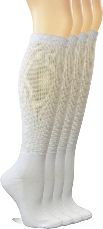 Women/'s Socks 5 Pairs Seamless Bamboo Fiber Dress Diabetic Crew Nonbinding Solid