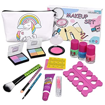 Kids Washable Makeup Set -Real Cosmetic kit with Unicorn Makeup Bag-Nail  Polish- c1fefb47311c6