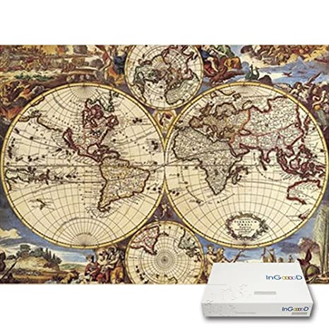 Amazon ingooood imagination series world map paper jigsaw ingooood imagination series world map paper jigsaw puzzles 1000 pieces for adult gumiabroncs Images