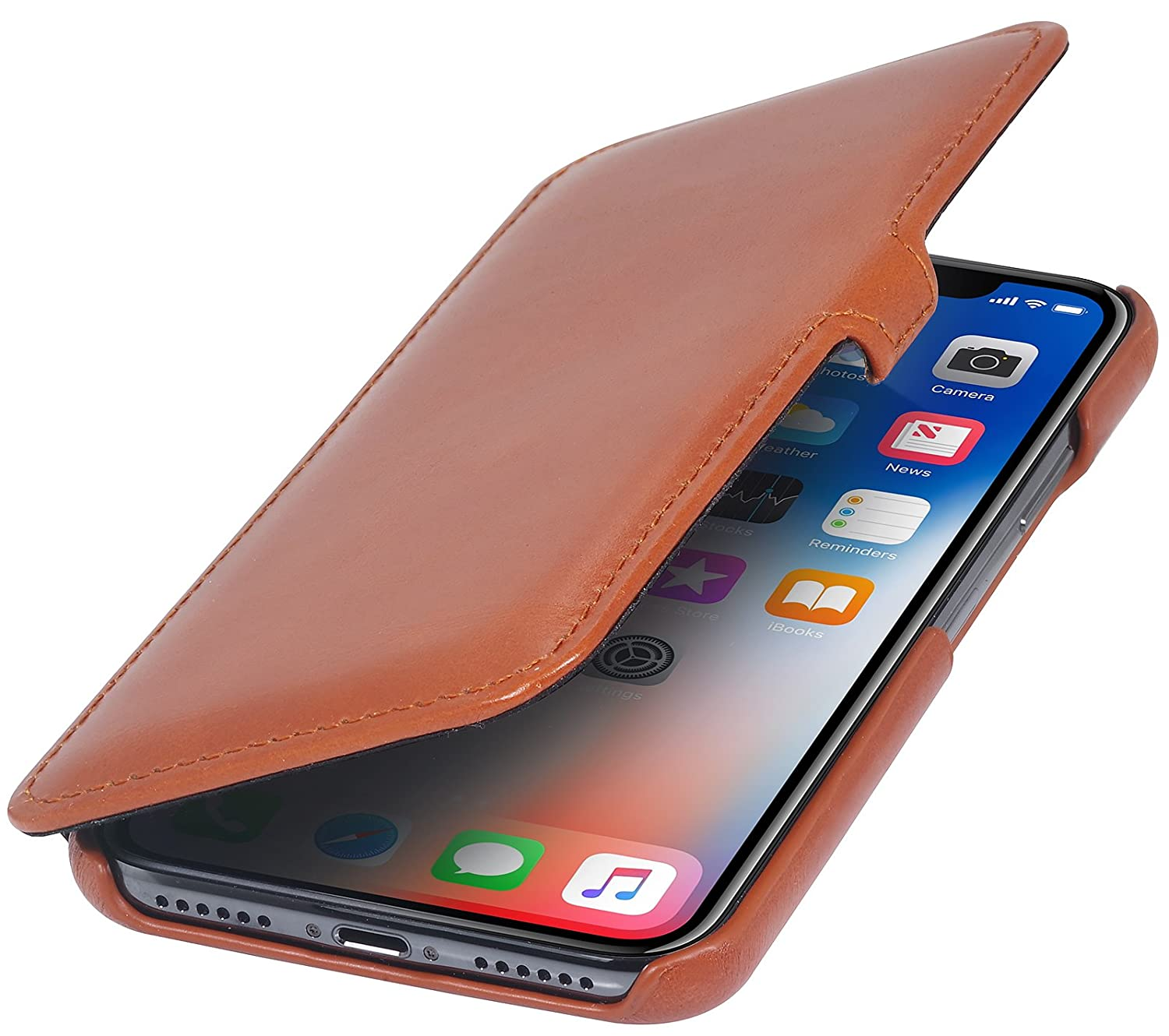 StilGut Genuine Leather Case for iPhone Xs & iPhone X, Slim Book Type Folio Flip Cover, Cognac Brown APIPXNDJST2VTBN