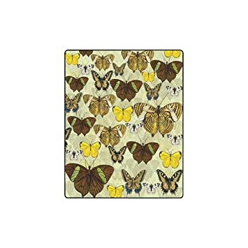 Amazon.com: INTERESTPRINT Retro Butterflies Fleece Blanket ...
