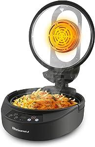 Elite Gourmet EAF4700 Digital 5Qt Air Fryer, Sears, Bakes, Roasts, Top & Bottom Heat, Oil-Less Healthy Cooker Timer & Temperature Controls, 26 Recipe Cookbook, Black