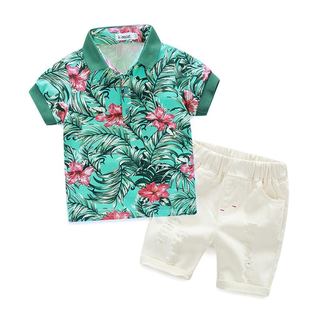 Boys Casual Clothing Set 2Pcs Prints Short Sleeve T-Shirt Pullover+White Pants(3T, Green)