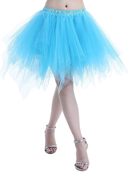 73fc8cc9418e Amazon.com: Adult Women 80's Plus Size Tutu Skirt Layered Tulle Petticoat  Halloween Tutu Blue: Clothing