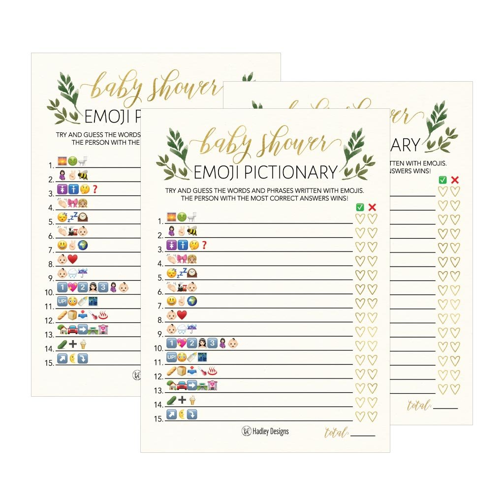 25 Floral Emoji Pictionary Baby Shower Games Ideas For Men, Women, Kids,  Girls or Boys, and Couples, Cute Shower Party Bundle Set, Greenery Gender  Neutral ...