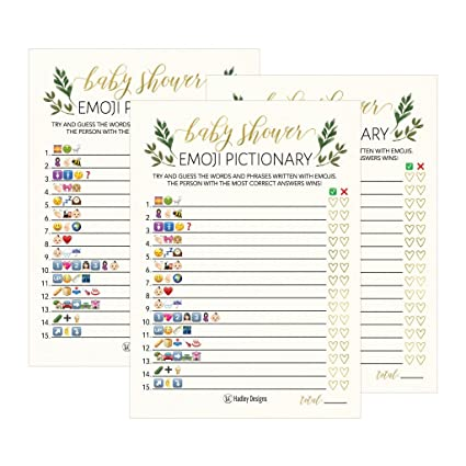 Amazon Com 25 Floral Emoji Pictionary Baby Shower Games Ideas For